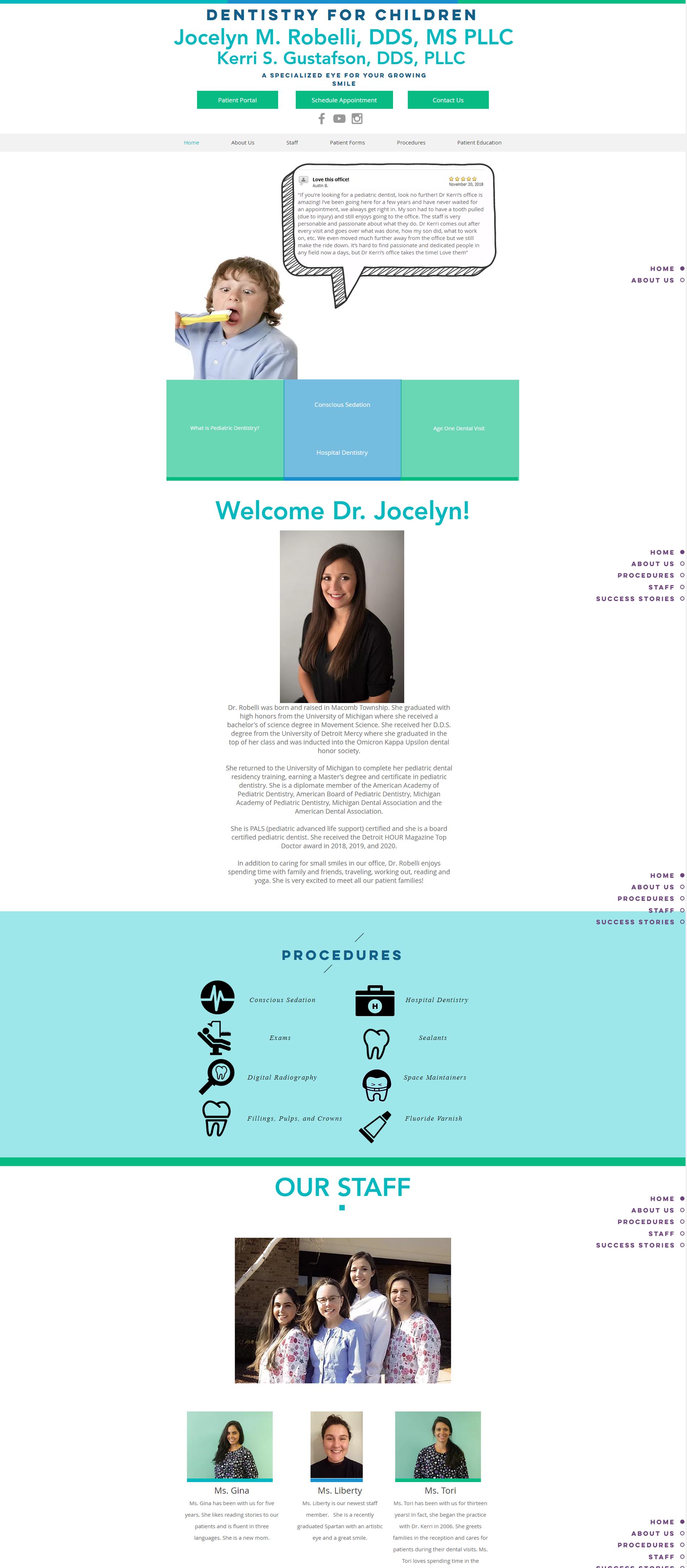 Dr Robelli Pediatric Dentist Website Before