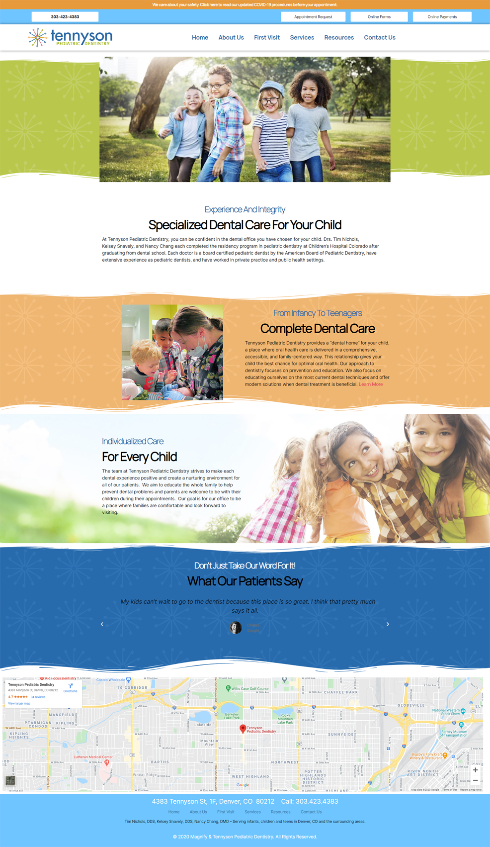 Tennyson Pediatric Dental Website Before